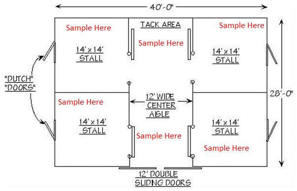 Example Floor Layout At Equine Facility