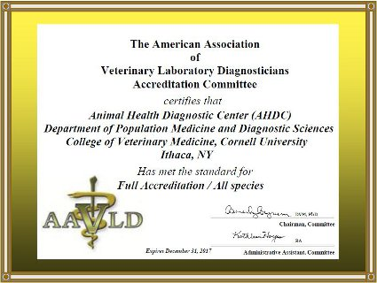 AAVLD Accreditation Certificate